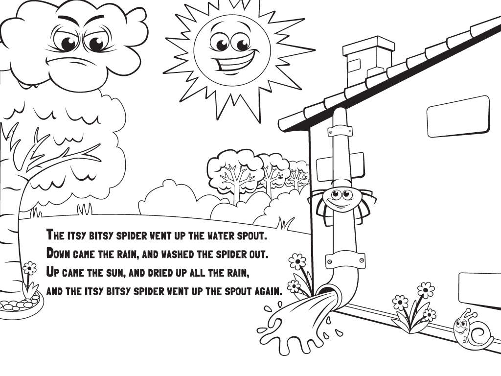 itsy bitsy spider coloring page - language nursery school hey diddle diddle